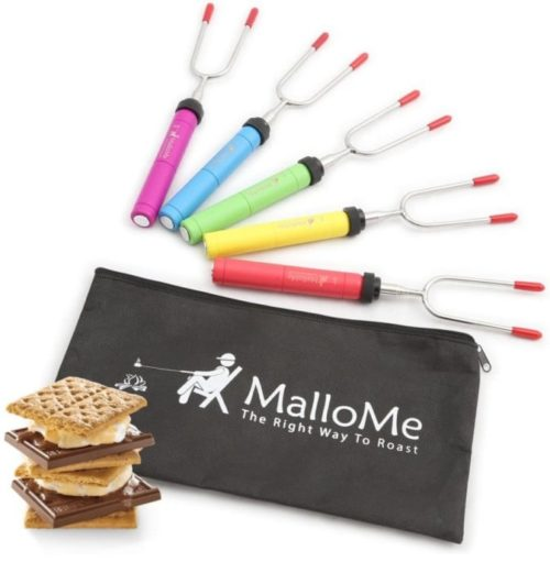 MalloMe Premium Roasting Campfire Marshmallow Roasting Sticks with Hot Dog Fork for Patio Fire Pit