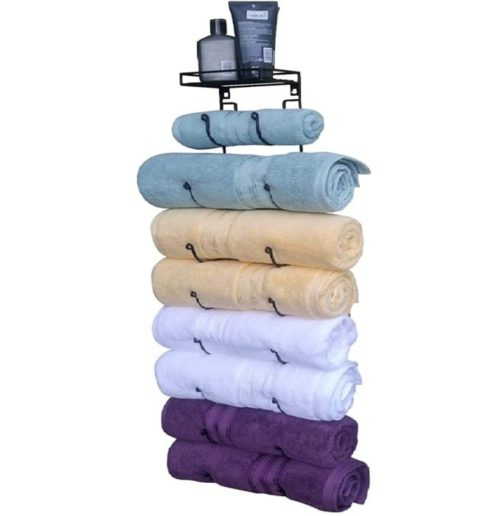 Premium Presents Wall Mounted Towel Rack For Rolled Towels Organizer - Bring DIY Hanging Towel Rack