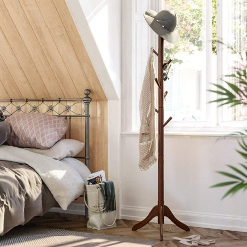 4. VASAGLE Wooden Coat Rack with Free Standing Hall Coat Tree with Hooks