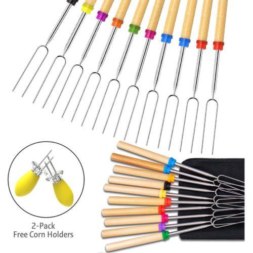 Ezire Campfire Marshmallow Roasting Sticks Set - BBQ Smores Sticks