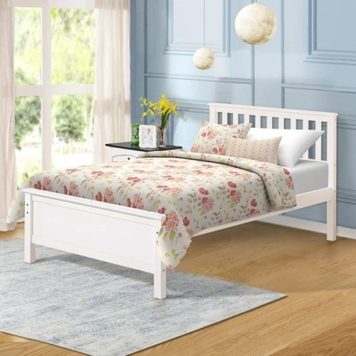 Harper&Bright Designs Wood White Twin Bed with Headboard