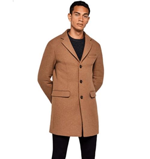 6. Amazon Brown Coat Brand - Wool Longline Brown Coat for Men