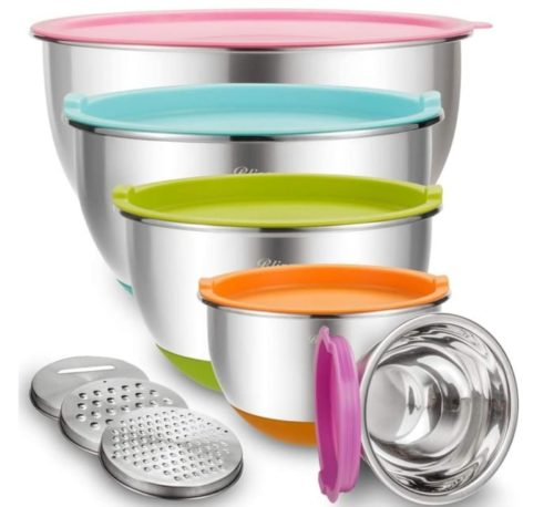 Blingco Mixing Stainless Steel Metal Colander and Nesting Bowl