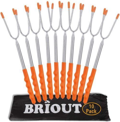 Briout Extra Long Stainless Campfire Marshmallow Roasting Sticks - Hot Dog Smores Sticks