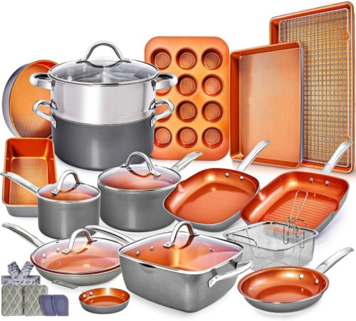 6. Home Hero Copper Pots and Pans Set