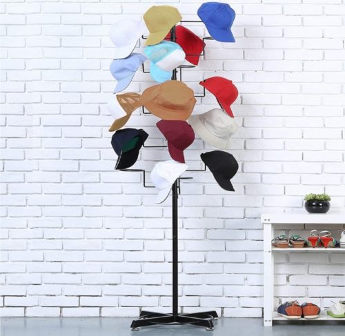 6. MyGift Modern Metal Freestanding Display Hat Rack Stand with Hooks