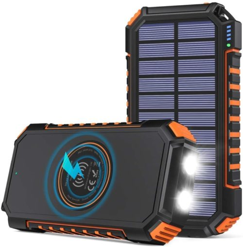 Riapow Portable Patriot Power Cell LIT Solar Power Banks with LED Flashlight for Outdoor and Camping