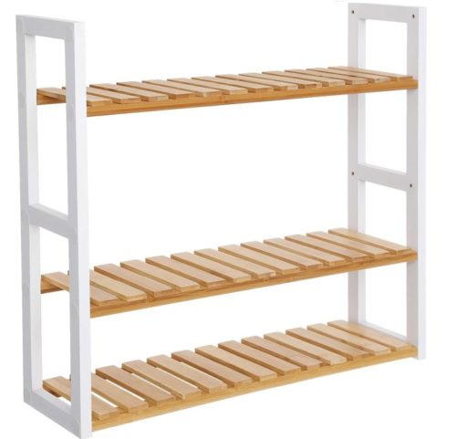 6. SONGMICS Adjustable Bamboo Shelf Rack - DIY Bathroom Towel Storage Ideas for Space Saving