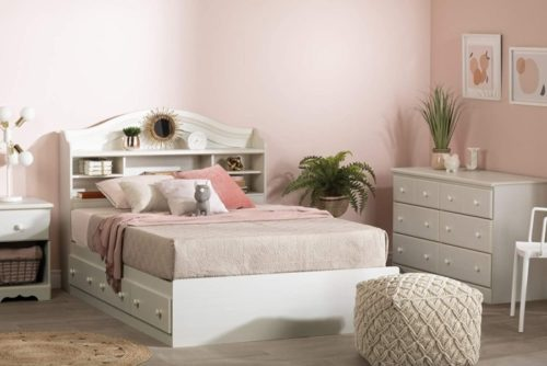 South Shore Wood White Twin Bed Frame - Twin Headboards with Storage