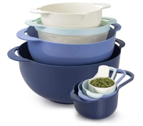 COOK WITH COLOR Blue Bowl and Plastic Colander Sets with Measuring Cup