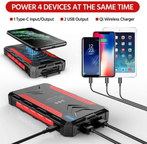 Feeke High-Speed Patriot Power Cell with Bright LED Flashlight Qi Wireless Lit Solar Powerbank Lit Mobile