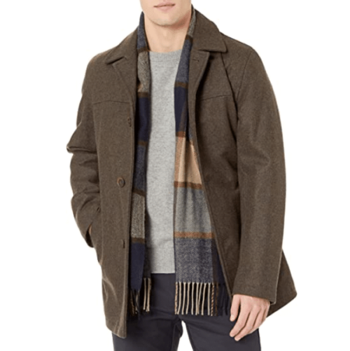 Tommy Hilfiger Walking Brown Coat for Men with Scarf