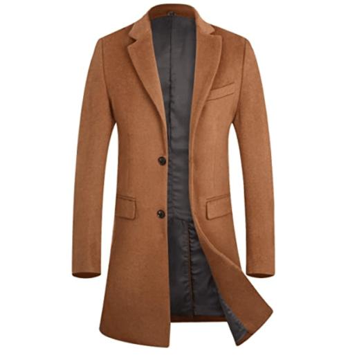 8. APTRO Luxury Brown Trench Coat - Long Brown Jacket, Wool Brown Coat