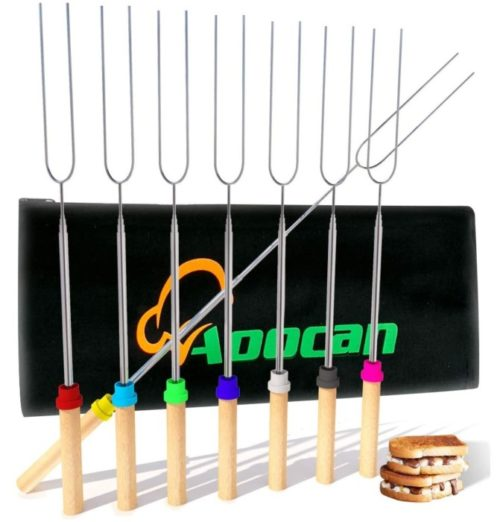 Aoocan Wooden Handle Campfire Marshmallow Roasting Sticks for Fire Pit - Best Telescoping Smores Sticks