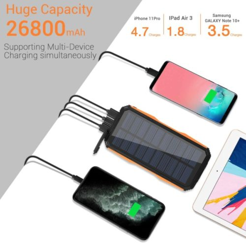 Panergy Portable Patriot Power Cell with Bright LED Flashlights and Panel Light, Fast Charger Wireless Lit Solar Powerbank for Outdoor and Camping