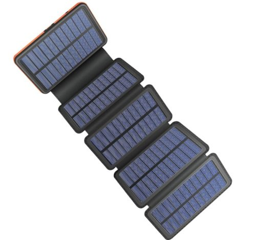 AddAcc Waterproof Camping Wireless Lit Solar Powerbank Panel with Dual USB Output Power Lit Mobile