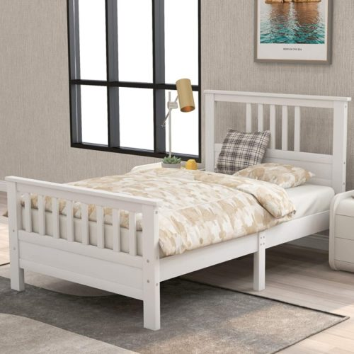 JulyFox Wooden Twin Platform Bed and Twin Headboard without Box Spring Needed