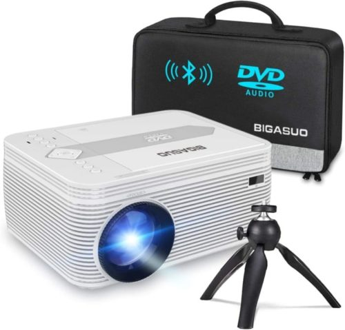 BIGASUO Bluetooth Full HD Portable Best Projector Under 200 Built-in DVD Player Compatible with Android and iPhone TV HDMI USB and VGA