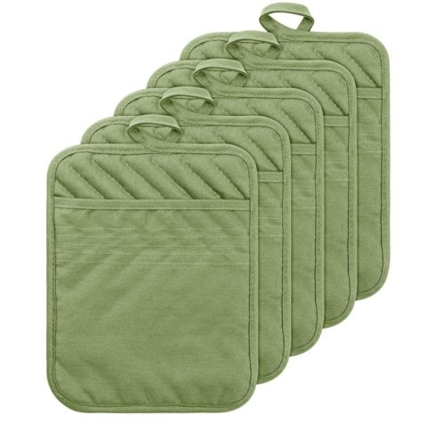 GROBRO7 Cotton Heat Resistant Pocket Pot Holders and Hot Pads for Kitchen