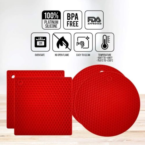 KITCHENATICS Premium Silicone Pot Holder Heat Resistant Non-Slip Hot Pads