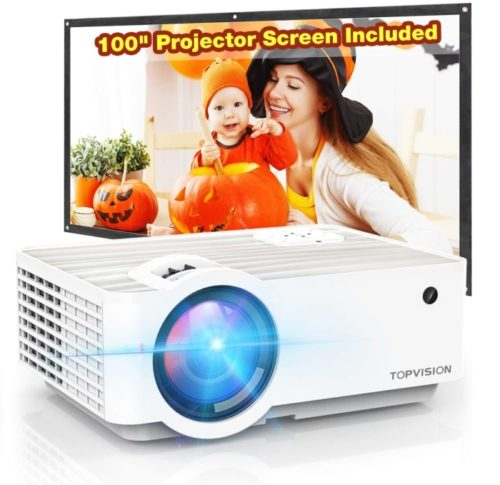 TOPVISION Portable Best Projector Under 200 with HI-FI Speakers