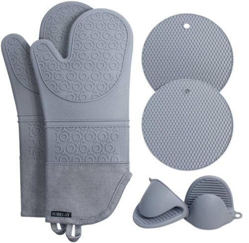 Rorecay Oven Mitts Hot Pads and Pot Holders Sets with Mini Oven Gloves for Kitchen