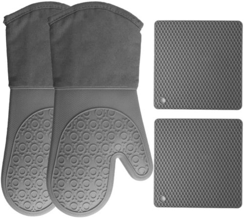 HOMWE Advance Heat Resistant Silicone Oven Mitts Hot Pads and Pot Holders with Non-Slip Heavy Duty Gloves