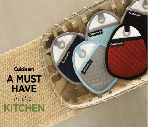 Cuisinart Quilted Silicone Soft Insulated Pocket Heat Resistant Hot Pads and Pot Holders with Non-Slip Grip