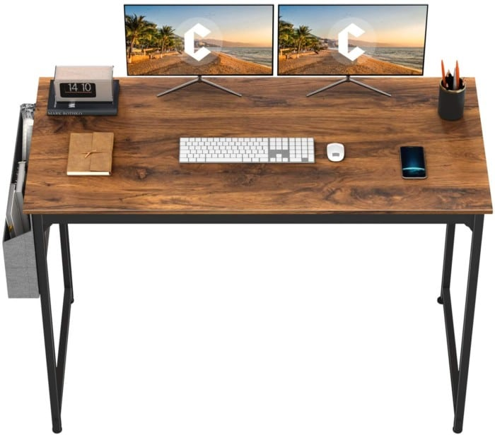 """CubiCubi Computer Desk 63"""" Study Writing Table for Home Office, Modern Simple Style PC Desk, Black Metal Frame, Dark Rustic"""