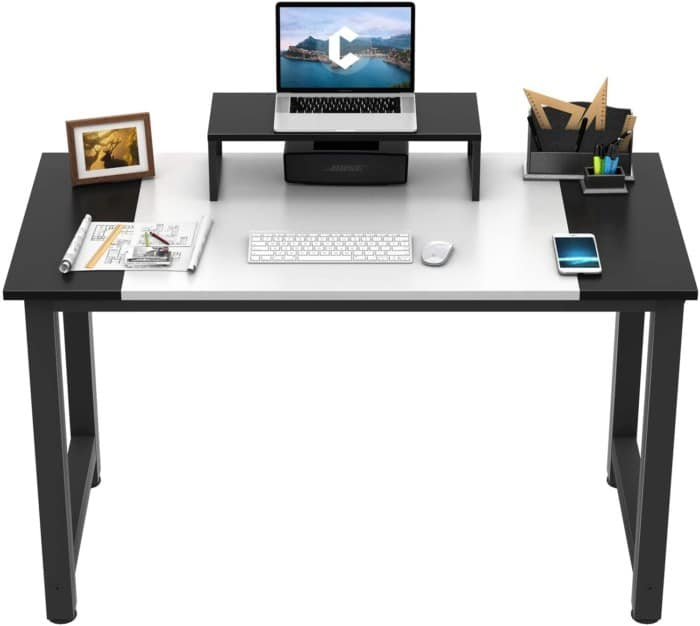 """CubiCubi Computer Office Small Desk 47"""", Study Writing Table, Modern Simple Style PC Desk with Splice Board, White and Black"""