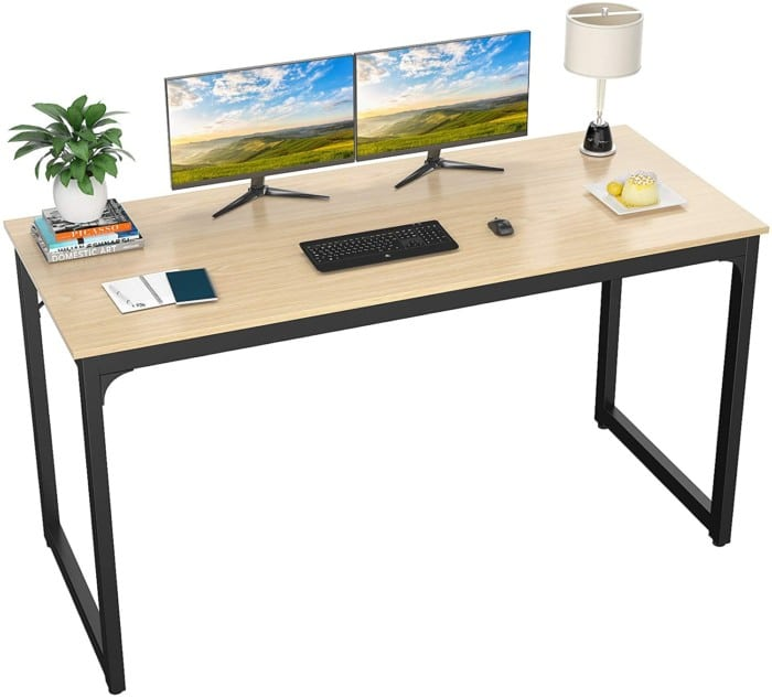 Foxemart Computer Desk 55 Inch Modern Sturdy Office Desks PC Laptop Notebook Study Writing Table for Home Office Workstation