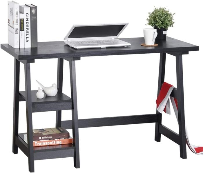 "GreenForest Trestle Desk 47"" Computer Desk Home Office Desk with Storage Bookshelf Modern Study Writing Laptop Table"