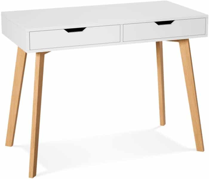 Homfa Writing Computer Desk, Laptop Notebook PC Workstation with 2 Drawers, Simple Study Makeup Vanity Table Modern Furniture for Home Office