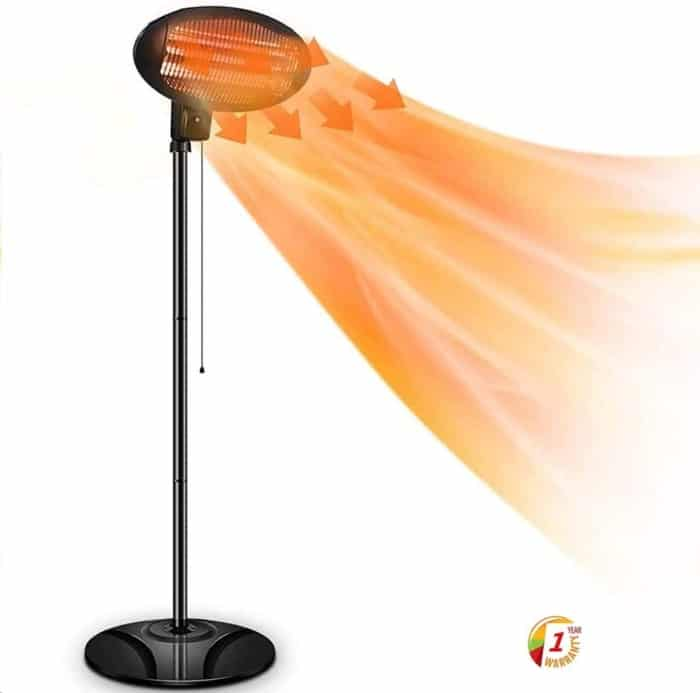 SOARRUCY Patio Heater Electric Outdoor Heater- 1500W 3 Adjustable Power Level Outdoor Infrared Heater w/Tip Over & Overheat Protection, Super Quiet Warm Vertical Electric Heater for Big Room Backyard