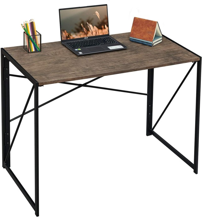 "Writing Computer Desk 39"" Modern Simple Study Desk Industrial Style Folding Laptop Table for Home Office Notebook Desk Brown Desktop Black Frame"