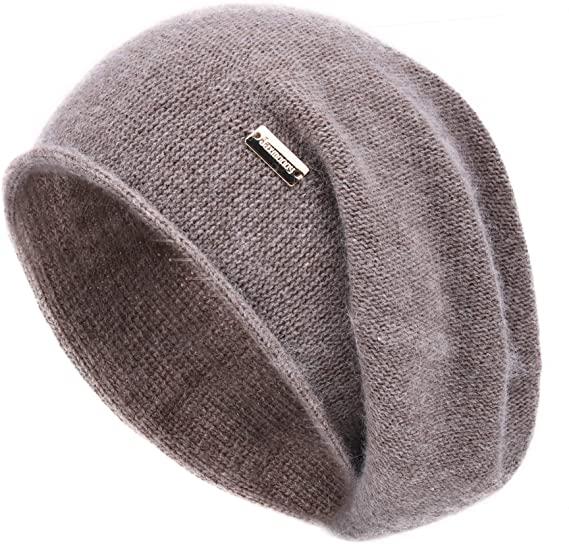 Jaxmonoy Cashmere Slouchy Knit Beanie