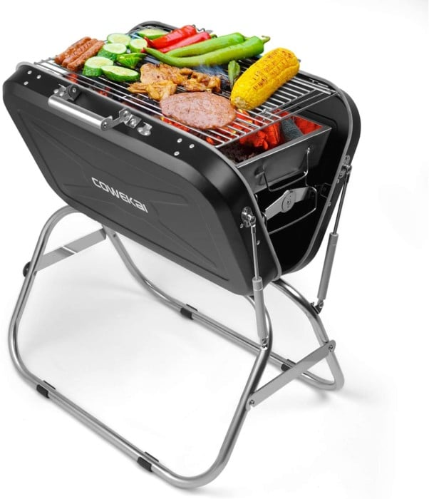 Portable Charcoal BBQ Grill, COWEKAI Stainless Steel Folding Charcoal Barbecue Grill