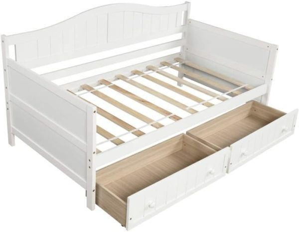 Mera Wooden Twin Daybed with Storage Drawers No Spring