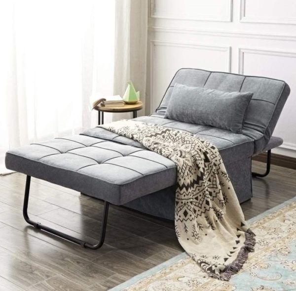 Vonanda Folding Chair Guest Bed with Velvet Grey
