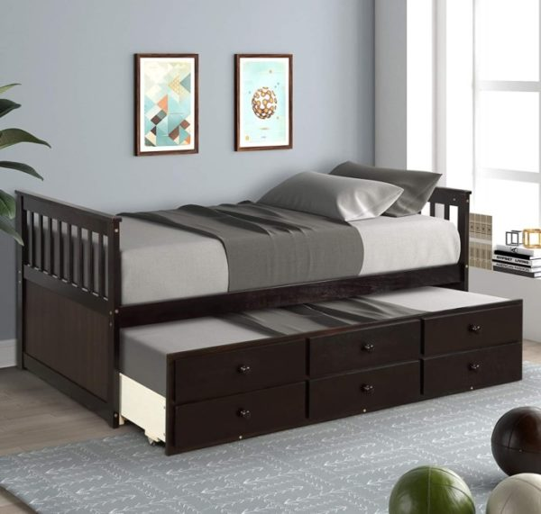 ZEBERY Captain Twin Daybed with Storage Drawers