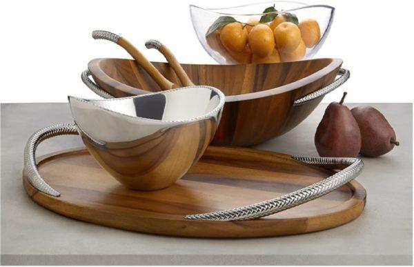 Nambe Braid Wooden Bowl