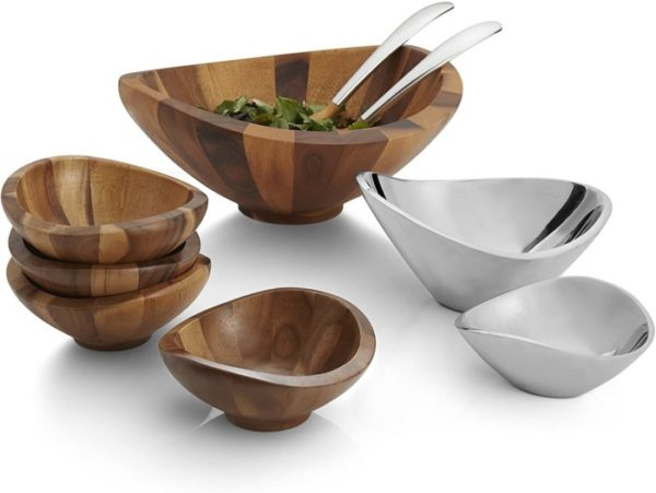 Nambe Butterfly Salad Wooden Bowl with Servers